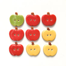 Load image into Gallery viewer, Ceramic Apple Buttons: Red, Yellow, and Green Ceramic Buttons - Clay Apple Buttons (ws-31)