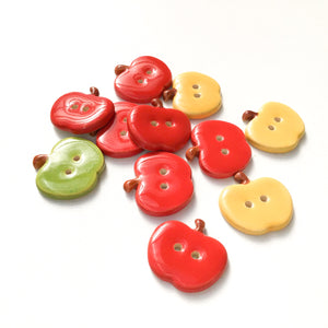 Ceramic Apple Buttons: Red, Yellow, and Green Ceramic Buttons - Clay Apple Buttons (ws-31)