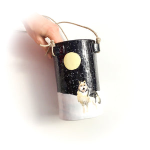 """Wolf Moon"" Hanging Ceramic Planter - Hanging Clay Pot"