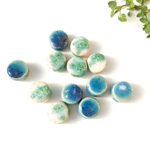 "Load image into Gallery viewer, Round Handmade Clay Beads - Turquoise, White, and Ocean Blue Ceramic Beads - 9/16"" x 1/4"""