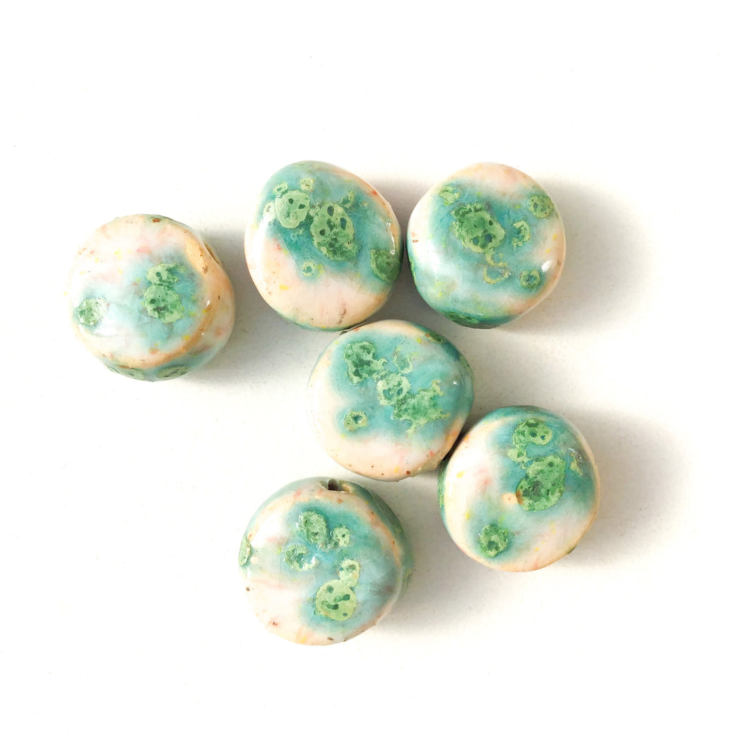 Round Handmade Clay Beads - Turquoise, White, and Ocean Blue Ceramic Beads - 9/16