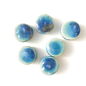 "Round Handmade Clay Beads - Turquoise, White, and Ocean Blue Ceramic Beads - 9/16"" x 1/4"""