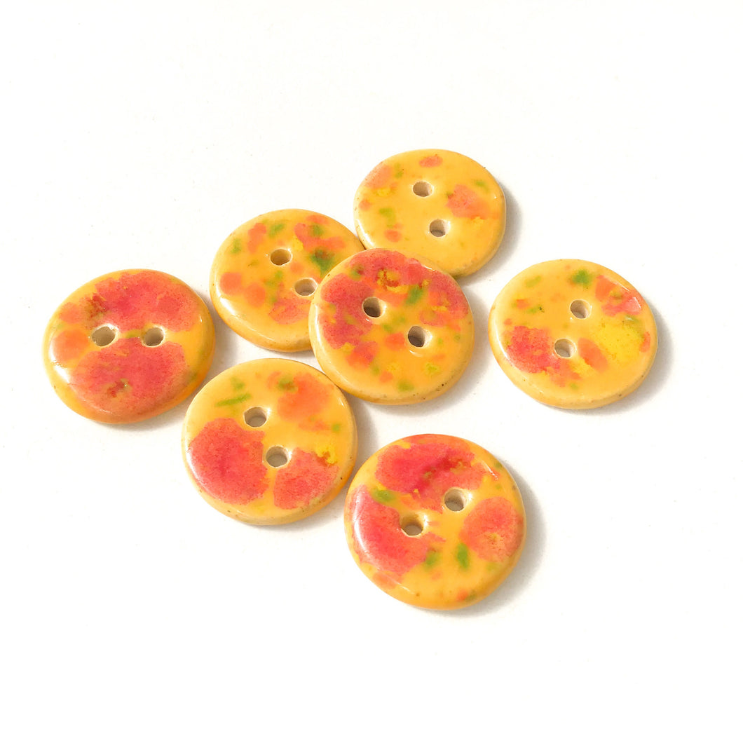 Speckled Orange Ceramic Buttons - Round Ceramic Buttons - 3/4