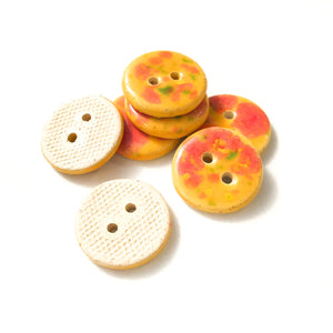 "Speckled Orange Ceramic Buttons - Round Ceramic Buttons - 3/4"" - 7 Pack (ws-225)"