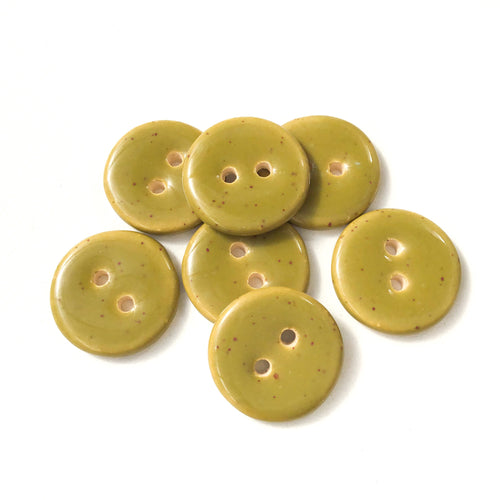 Speckled Olive Green Ceramic Buttons - Mossy Green Clay Buttons - 3/4