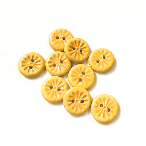 Yellow Daisy Buttons - Ceramic Flower Buttons - 3/4
