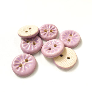 "Purple Daisy Buttons - Ceramic Flower Buttons - 3/4"" - 6 Pack or 8 Pack (ws-281)"