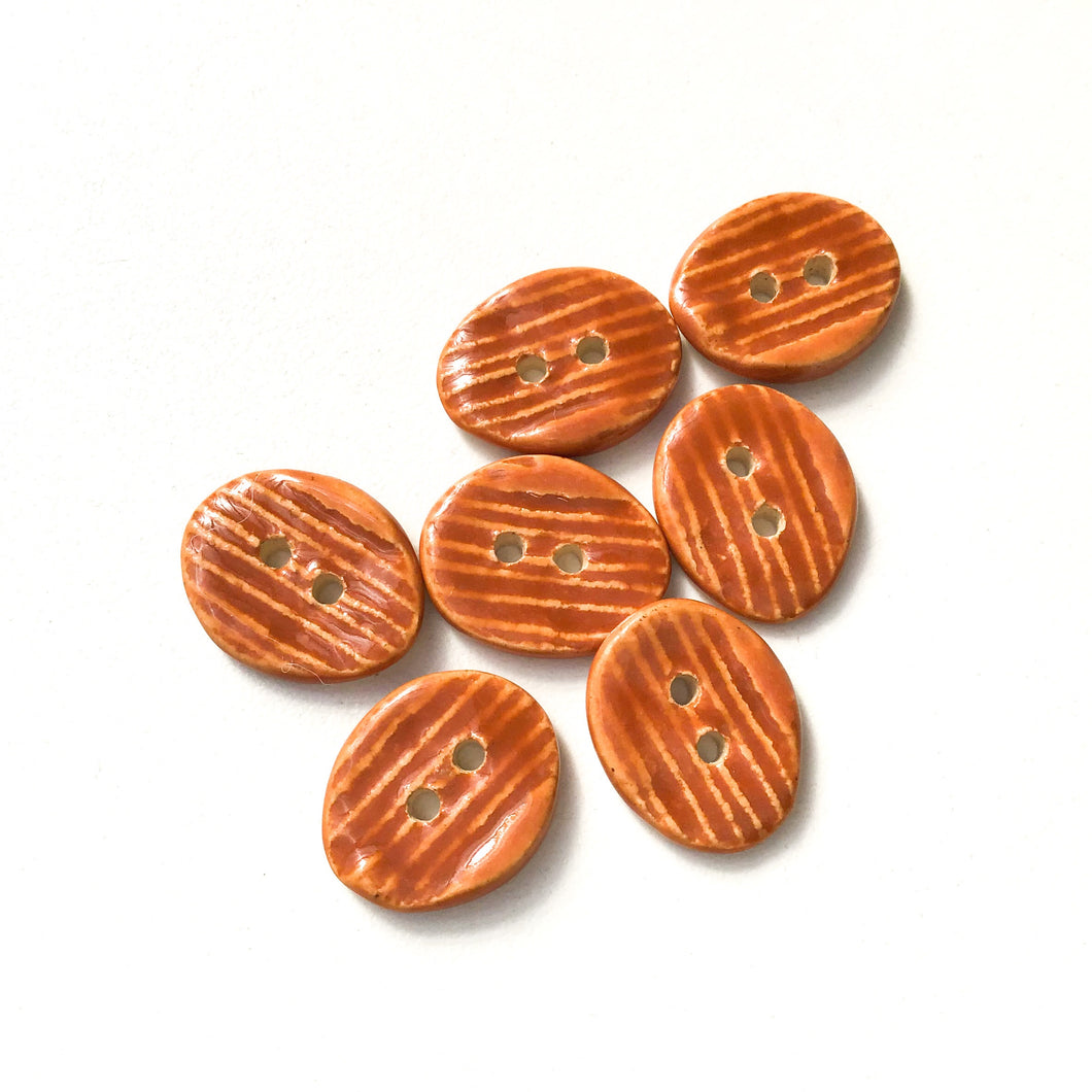 Orangish-Brown Ceramic Buttons - Hand Stamped Oval Ceramic Buttons - 9/16