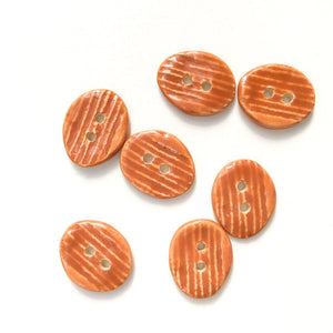 "Orangish-Brown Ceramic Buttons - Hand Stamped Oval Ceramic Buttons - 9/16"" x 11/16"" - 7 Pack"
