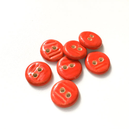 Reddish-Orange Ceramic Buttons - Small Round Ceramic Buttons - 9/16