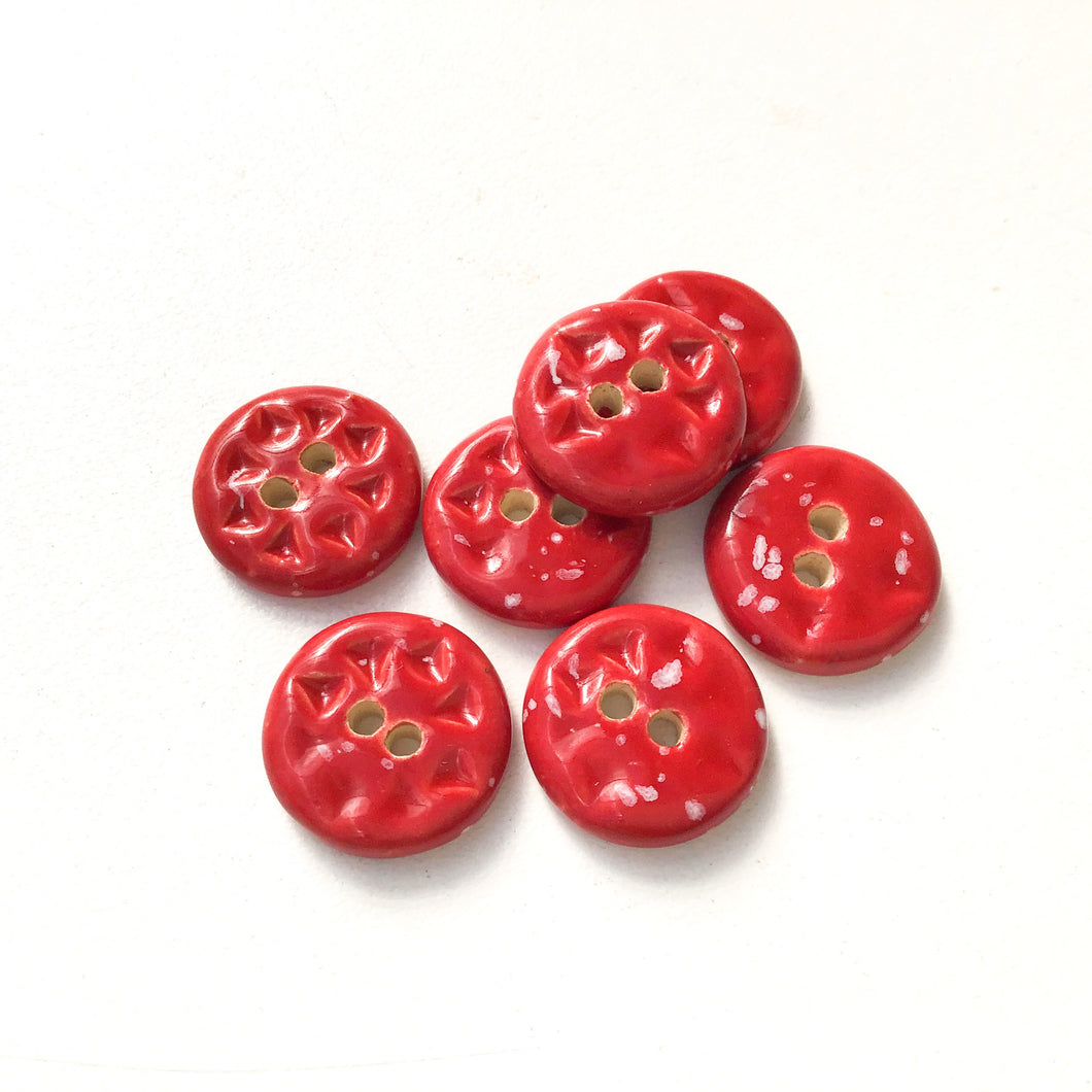 Speckled Red Ceramic Buttons - Small Round Ceramic Buttons - 9/16