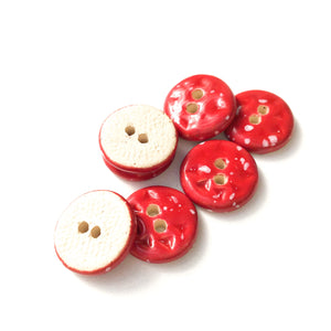 "Speckled Red Ceramic Buttons - Small Round Ceramic Buttons - 9/16"" -7 Pack"
