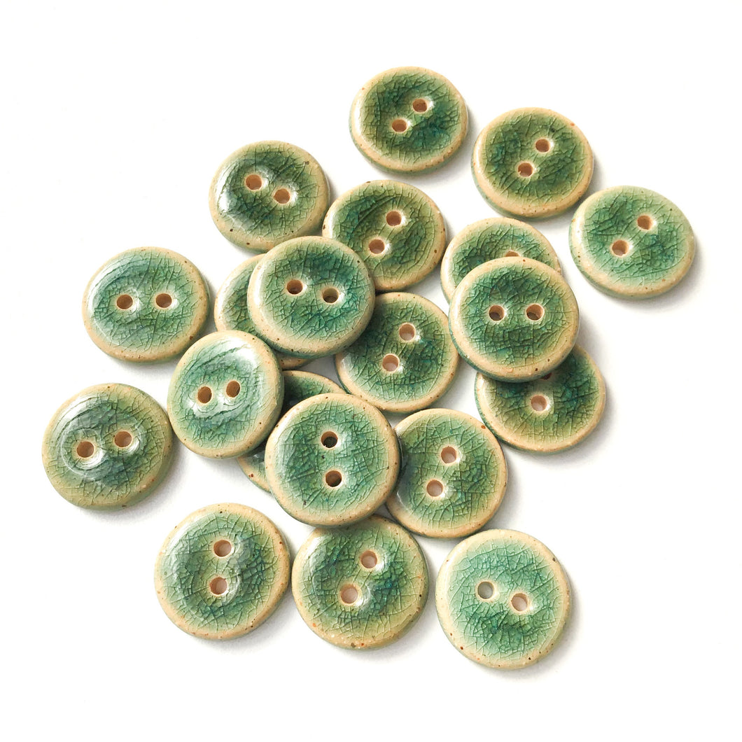 Blue-Green Crackle Ceramic Buttons - Turquoise Clay Buttons - 3/4