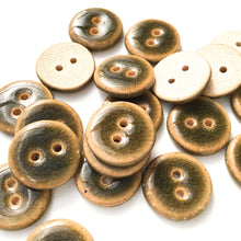 "Load image into Gallery viewer, Deep Green Crackle Ceramic Buttons - Dark Olive Clay Buttons - 3/4"" (ws-77)"
