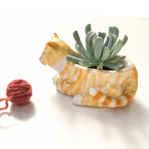 Orange Tabby Cat Ceramic Planter - Cat Succulent Pot