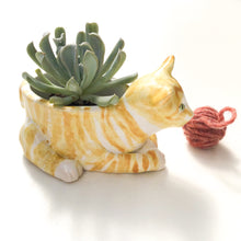 Load image into Gallery viewer, Orange Tabby Cat Ceramic Planter - Cat Succulent Pot