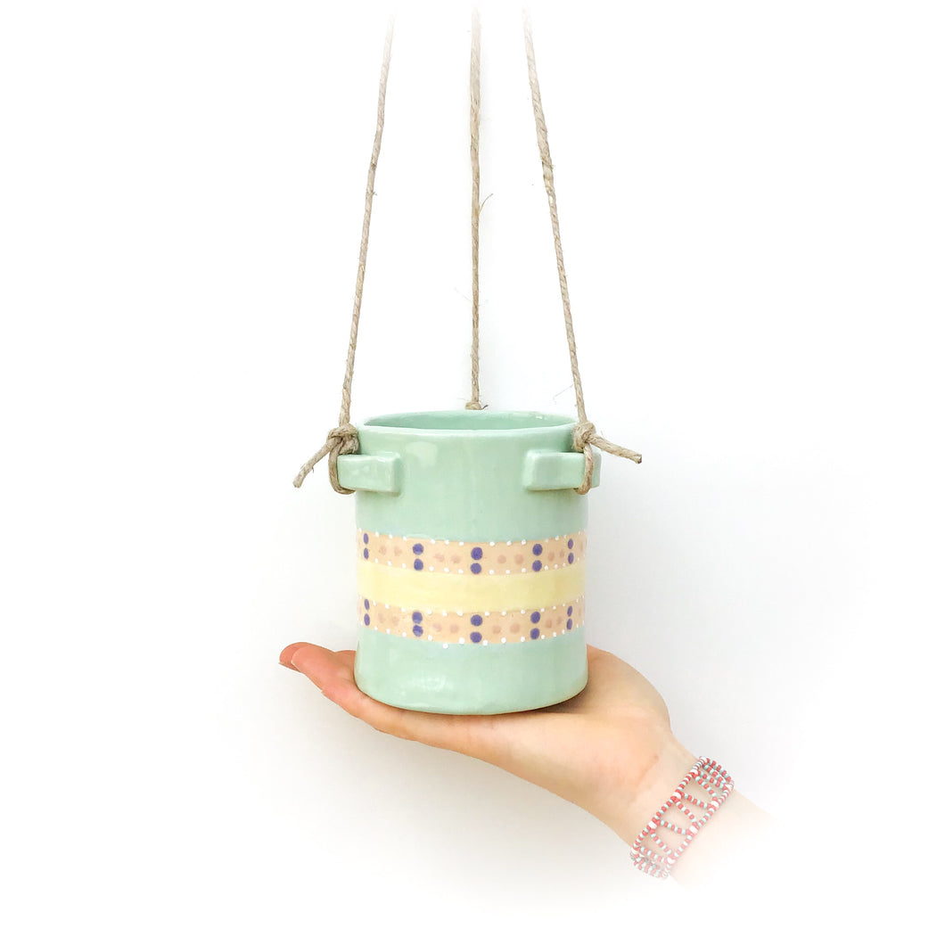 Light Aqua & Polka Dots Hanging Ceramic Pot - Hanging Clay Planter