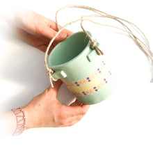 Load image into Gallery viewer, Light Aqua & Polka Dots Hanging Ceramic Pot - Hanging Clay Planter