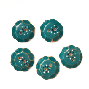 "Teal ""Spark"" Ceramic Buttons with Scallops - Teal Clay Buttons - 7/8"" - 5 Pack"