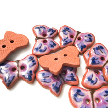 "Load image into Gallery viewer, Ceramic Butterfly Buttons - Purple+Blue Butterfly Buttons - 5/8"" x 7/8"""