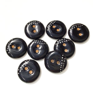 "Black Ceramic Buttons with White Dotted Lines - Black Clay Buttons - 3/4"" - 8 Pack"