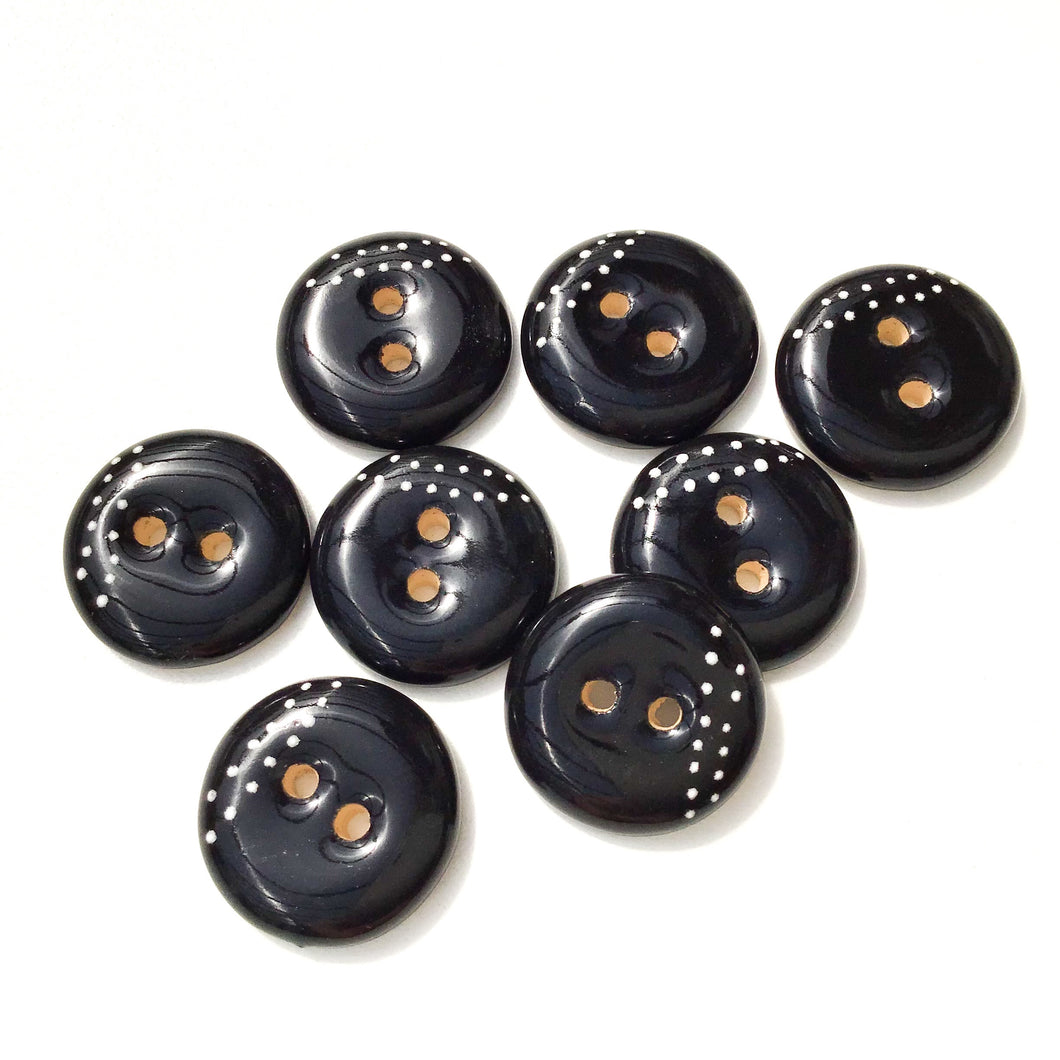 Black Ceramic Buttons with White Dotted Lines - Black Clay Buttons - 3/4