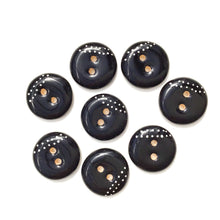 "Load image into Gallery viewer, Black Ceramic Buttons with White Dotted Lines - Black Clay Buttons - 3/4"" - 8 Pack"