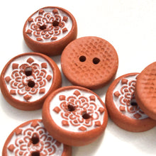 "Load image into Gallery viewer, White Mandala Ceramic Buttons on Red Clay - 9/16"" - 8 Pack"