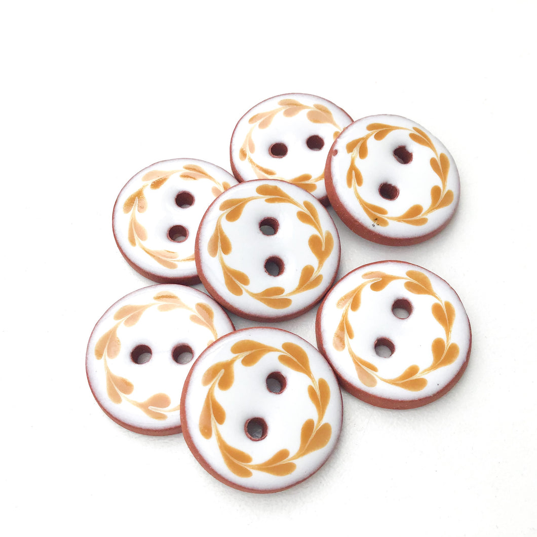 White & Caramel Brown Floral Wreath Ceramic Buttons - Round Ceramic Buttons - 3/4