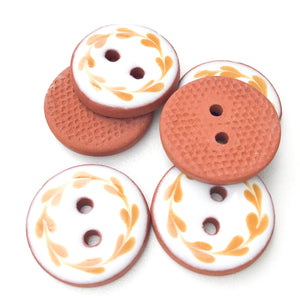 "White & Caramel Brown Floral Wreath Ceramic Buttons - Round Ceramic Buttons - 3/4"" - 7 Pack"