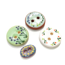 Load image into Gallery viewer, Mixed Pack - One of a Kind Flowers & Small Oval Ceramic Buttons - 4 Pack