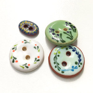 Mixed Pack - One of a Kind Flowers & Small Oval Ceramic Buttons - 4 Pack