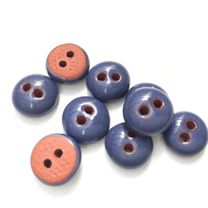 "Deep Purple-Blue Ceramic Buttons - Hand Made Clay Buttons - 7/16"" - 9 Pack"