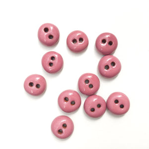 "Mauve Ceramic Buttons - Hand Made Clay Buttons - 7/16"" - 11 Pack"