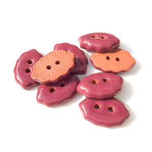"Burgundy Oval Clay Buttons - Wine Colored Clay Buttons - 1/2"" x 3/4"" - 8 Pack"