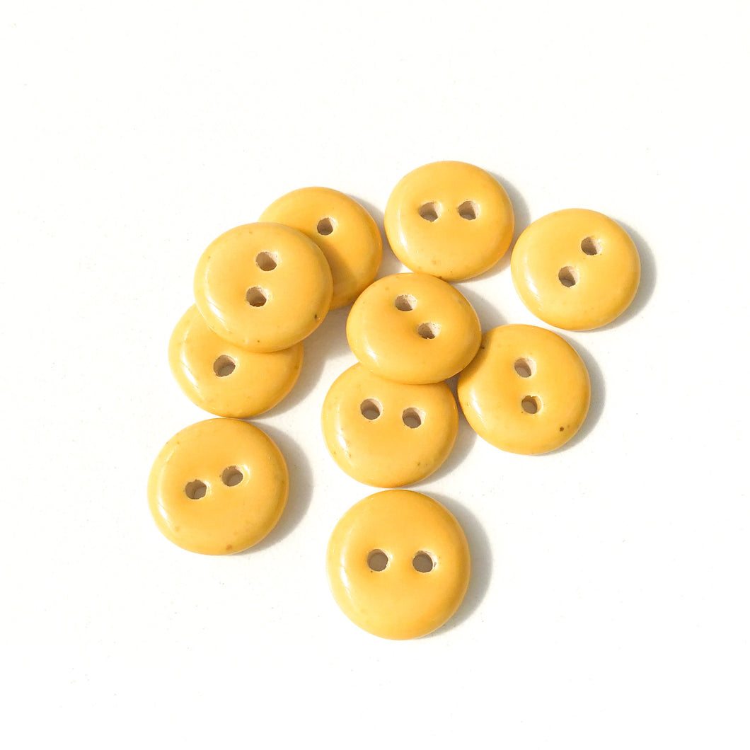 Yellow Ceramic Buttons - Yellow Clay Buttons - 9/16