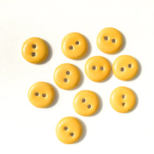 "Load image into Gallery viewer, Yellow Ceramic Buttons - Yellow Clay Buttons - 9/16"" - 10 Pack"
