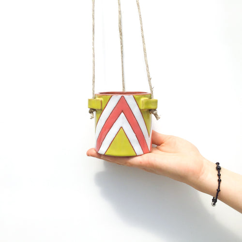 Chartreuse & Coral Zigzags Hanging Ceramic Pot - Hanging Clay Planter
