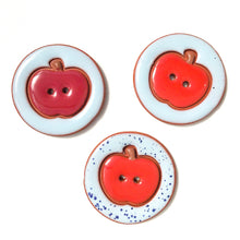 Load image into Gallery viewer, Ceramic Apple Buttons - Clay Apple Buttons - 1 7/16""