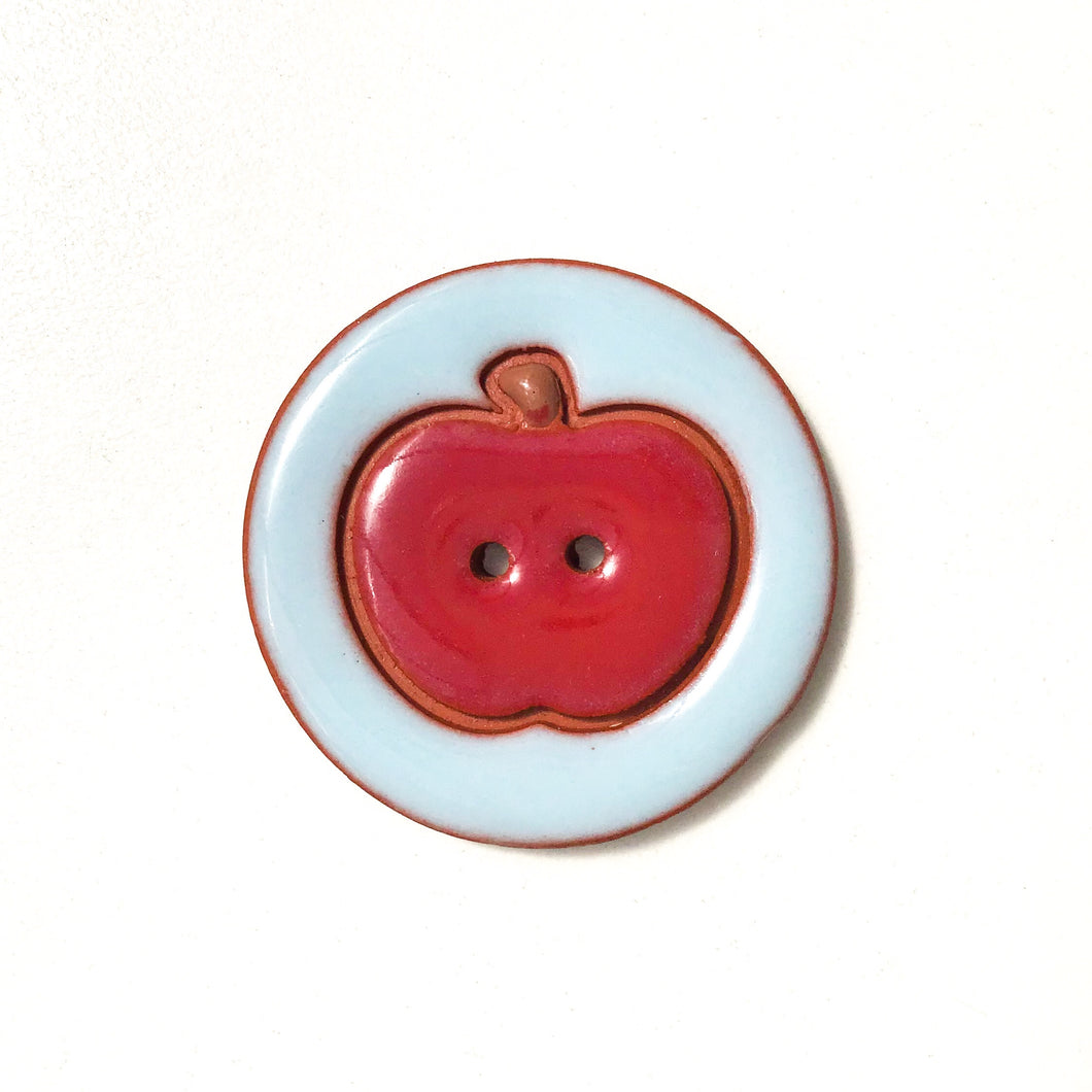 Ceramic Apple Buttons - Clay Apple Buttons - 1 7/16