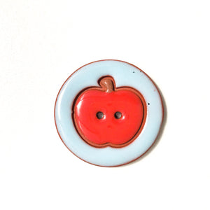 Ceramic Apple Buttons - Clay Apple Buttons - 1 7/16""