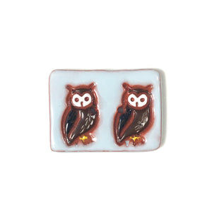 "Large Owl Friends Button - Two Owls Animal Button - 1 1/16"" x 1 7/16"""