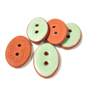 "Pastel Green Oval Clay Buttons - 5/8"" x 7/8"" - 5 Pack"