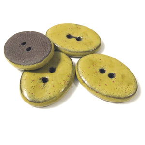 "Yellow-Green Button on Black Clay - 1 1/16"" x 13/16"" - 4 Pack"