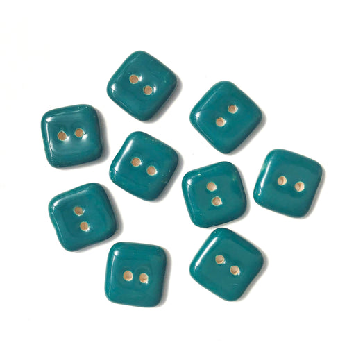 Teal Ceramic Buttons - Square Clay Buttons - 3/4