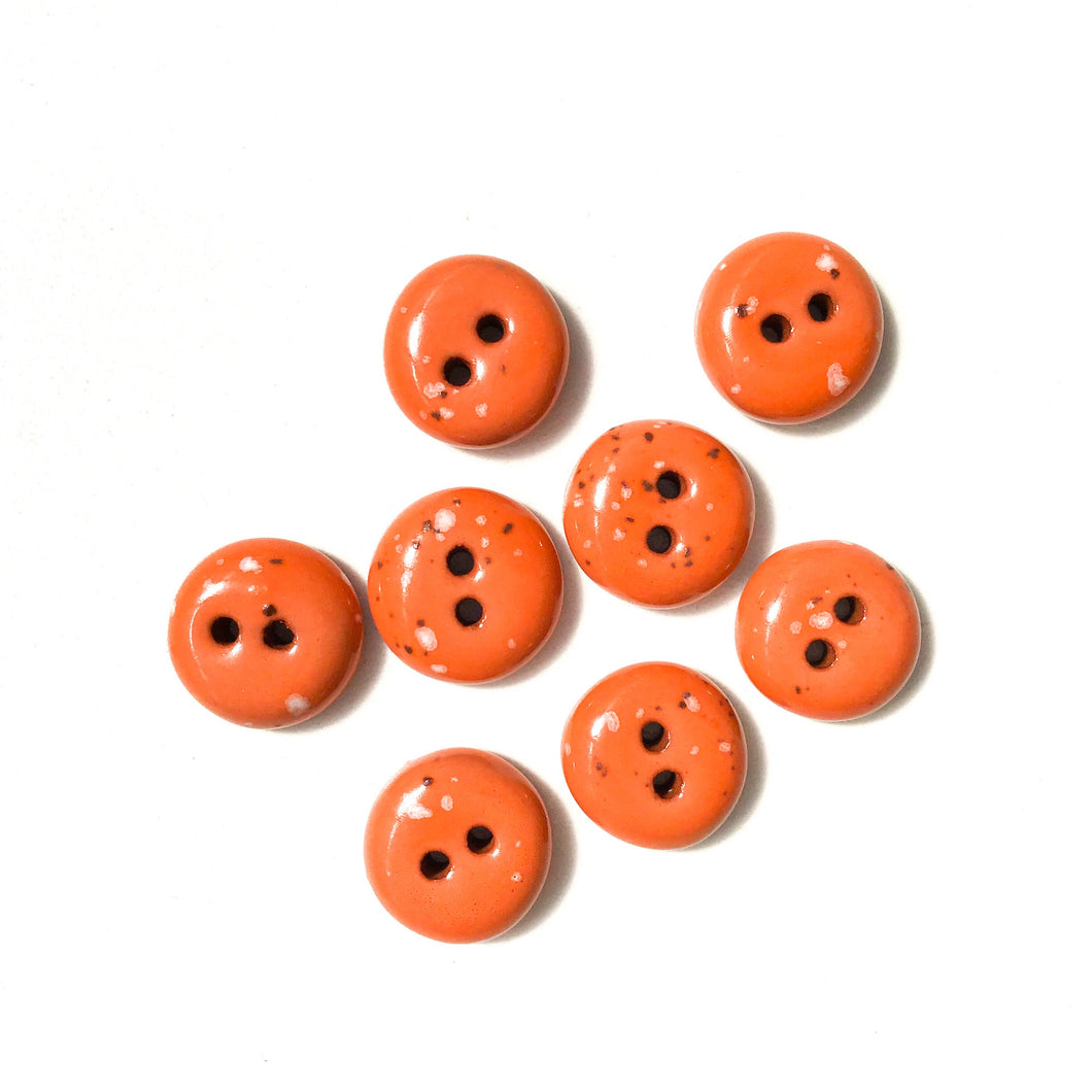 Speckled Orange Clay Buttons - Orange Clay Buttons - 9/16