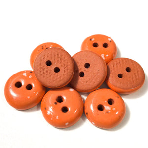 "Speckled Orange Clay Buttons - Orange Clay Buttons - 9/16"" - 8 Pack"
