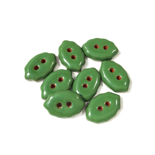 Shamrock Green Oval Clay Buttons - Scalloped Clay Buttons - 1/2