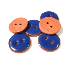 "Load image into Gallery viewer, Steel Blue Ceramic Buttons - Blue Clay Buttons - 3/4""- 6 Pack"