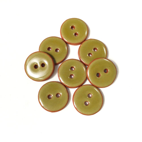 Army Green Ceramic Buttons - Green Clay Buttons - 3/4